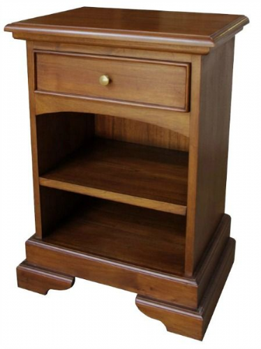Sleigh 1 Drawer Bedside in Mahogany